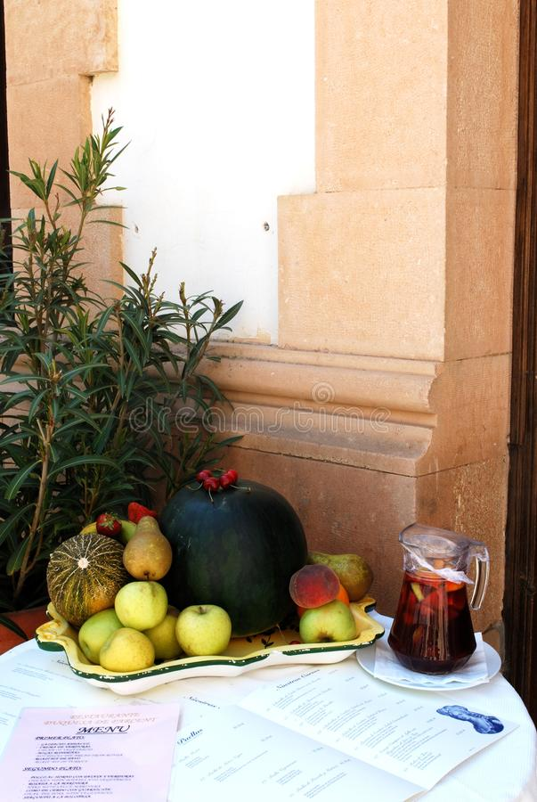 Restaurant food and drink display, Ronda, Spain. royalty free stock photo