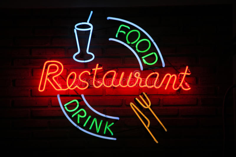 Retro Restaurant food drink neon wall sign background stock photo