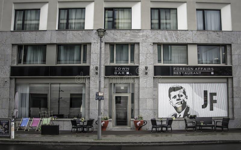 Restaurant `Foreign Affairs` in Arcotel John F Berlin. BERLIN, GERMANY - APRIL 10, 2016 - Restaurant `Foreign Affairs` in Arcotel John F Berlin on Kurstreet next stock photos