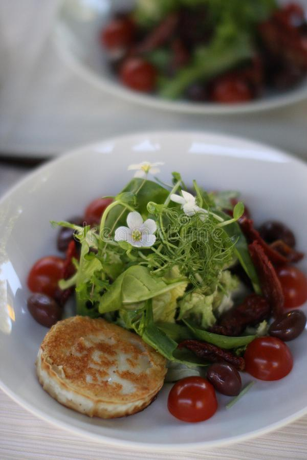 Restaurant goat cheese salat with cherry tomatoes. European cuisine restaurant goat cheese salat with cherry tomatoes garnished with common wood sorrel royalty free stock photos