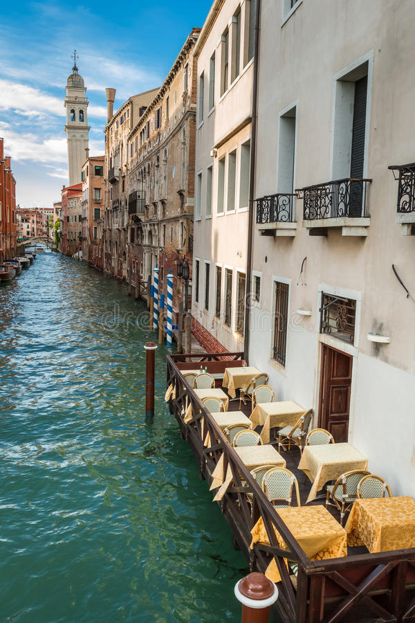Restaurant on the Grand Canal in Venice royalty free stock images