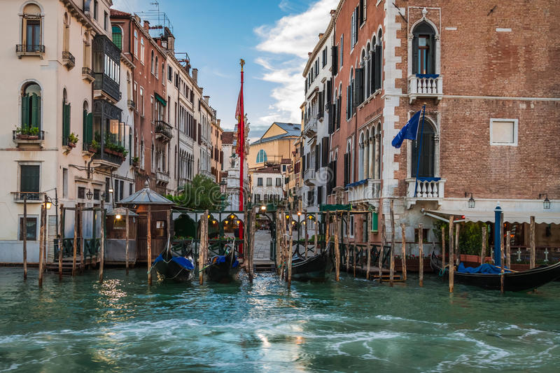 Restaurant on the Grand Canal in Venice stock photos
