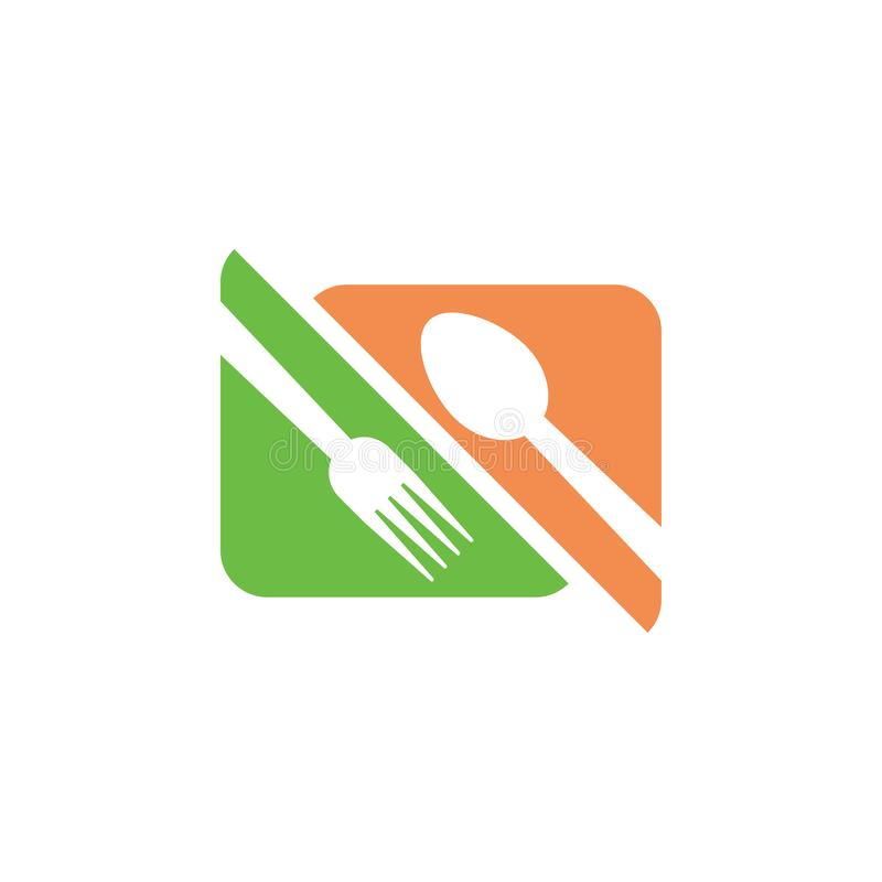 Restaurant graphic design template vector isolated. Logo, cafe, spoon, fork, utensil, food, icon, cafeteria, organic, cartoon, yummy, vintage, company, shop stock illustration