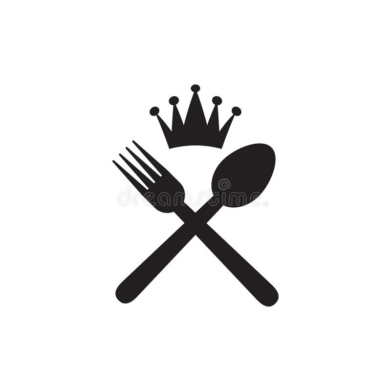 Restaurant graphic design template vector isolated. Logo, king, crown, cafe, spoon, fork, utensil, food, icon, cafeteria, organic, cartoon, yummy, vintage stock illustration