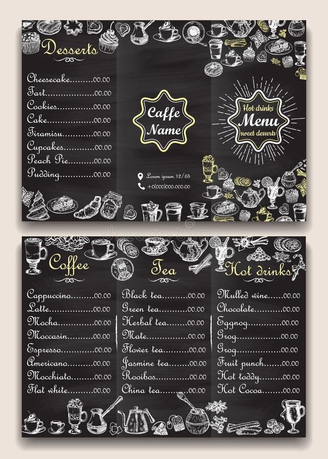 Restaurant hot drinks menu design with chalkboard background. Vector illustration template in vintage style. Hand drawn royalty free illustration