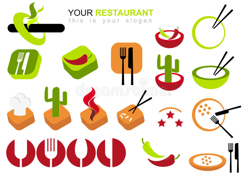 Download Restaurant Icon Set stock vector. Image of chile, bowl - 5568167