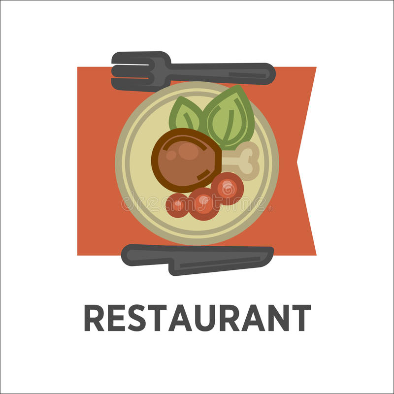 Restaurant icon template of vector lunch dish stock illustration