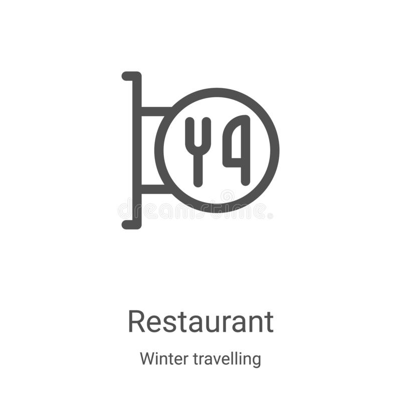 Restaurant icon vector from winter travelling collection. Thin line restaurant outline icon vector illustration. Linear symbol for. Use on web and mobile apps vector illustration