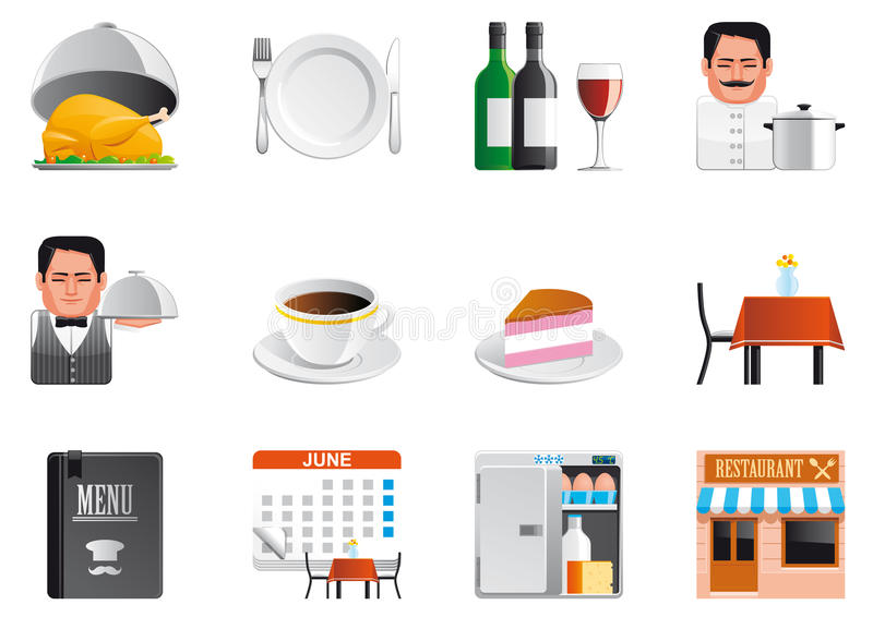Download Restaurant icons stock vector. Image of calendar, fork - 24592750