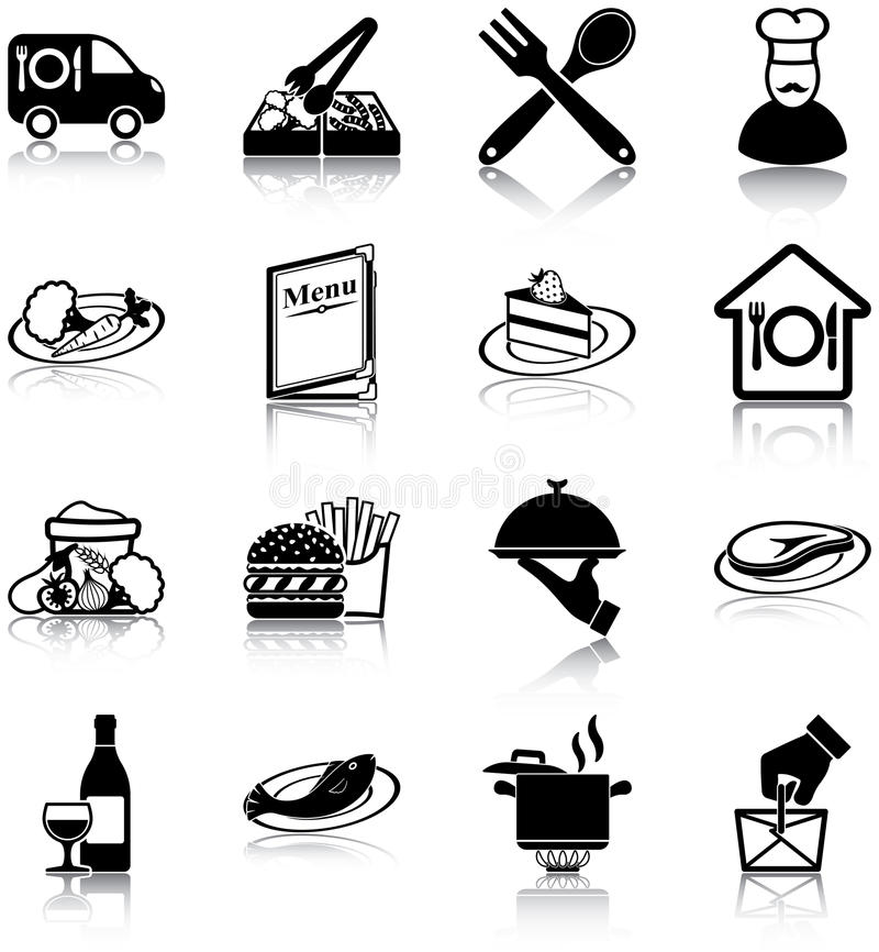 Download Restaurant icons stock vector. Image of fish, beverage - 33530934