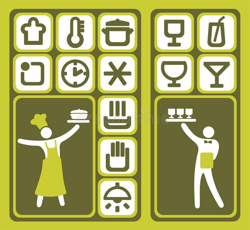 Download Restaurant icons set stock vector. Image of waiter, people - 11959015