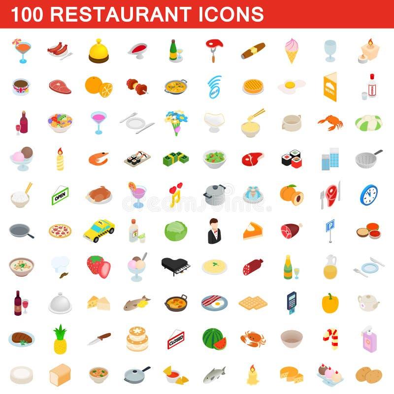 100 restaurant icons set, isometric 3d style royalty free illustration
