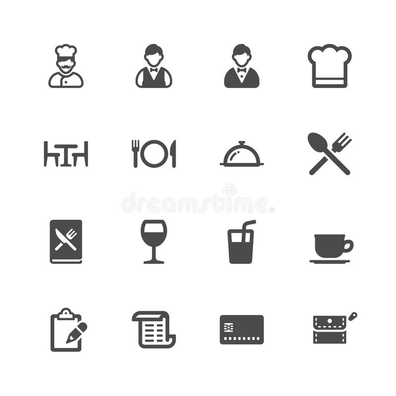 Restaurant icons. On white background