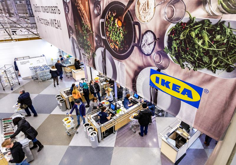 Restaurant in the IKEA Store. Samara, Russia - November 18, 2018: Restaurant in the IKEA Store. IKEA is the world`s largest furniture retailer, founded in Sweden stock image