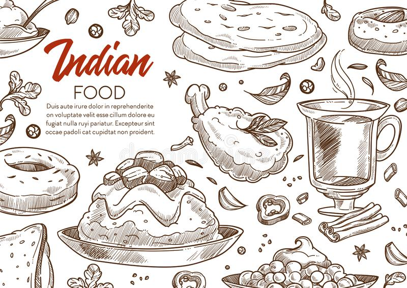 Restaurant with Indian cuisine or food menu sketch poster 皇族释放例证