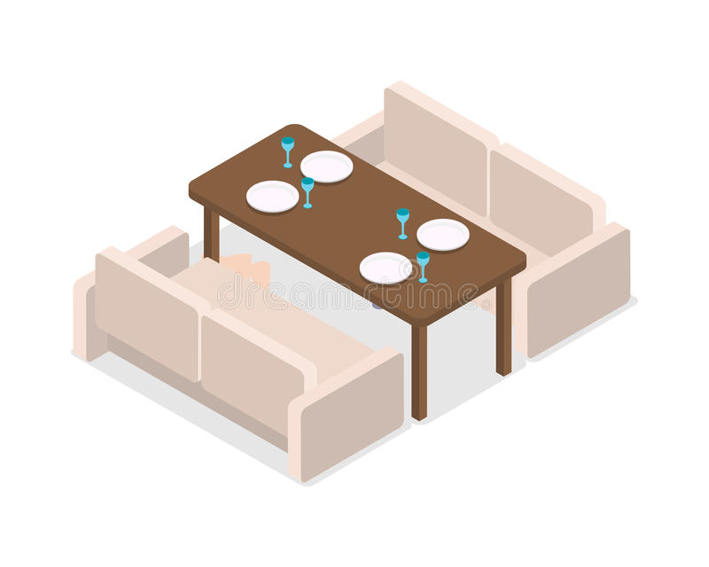 Restaurant. Inteior. Laid Table and Two Sofas royalty free illustration