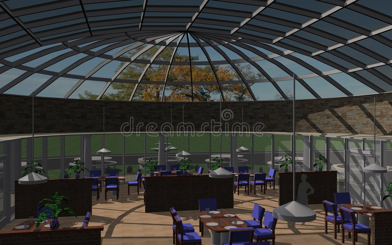 Restaurant interior. Rendering of a restaurant interior with glass roof