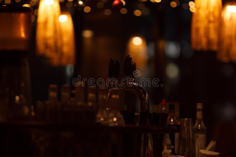Restaurant interior at night stock photos