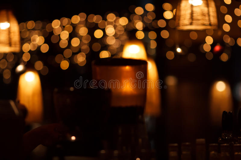 Restaurant interior at night royalty free stock photo