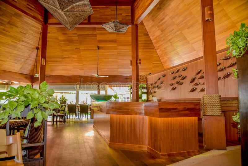 Restaurant interior with tables and chairs at the tropical resort stock image