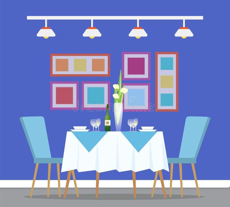 Restaurant Interiror, Table and Dinner Setting stock illustration