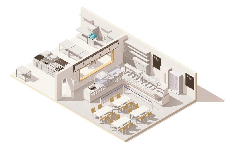 Restaurant isométrique de vecteur bas poly avec la cuisine illustration stock