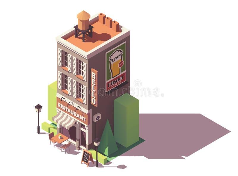 Restaurant isométrique de vecteur rétro illustration de vecteur