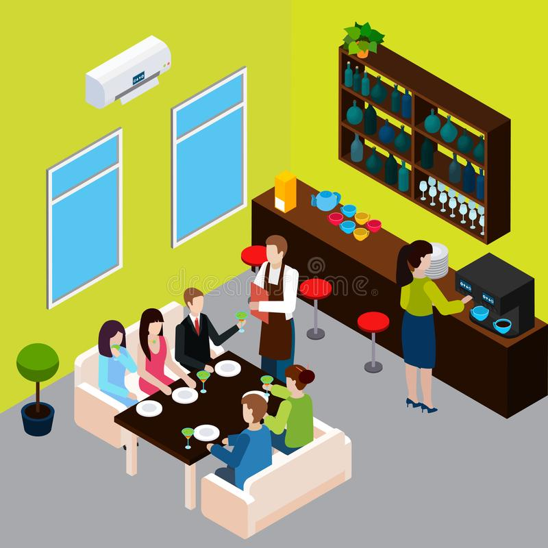 Restaurant Isometric Composition vector illustration