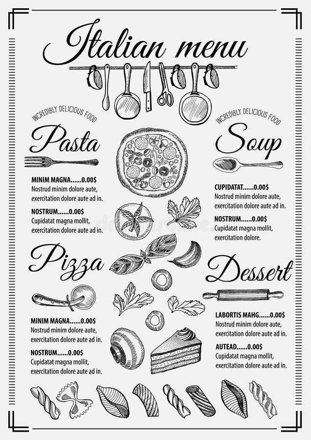 Restaurant italien de menu, placemat de calibre de nourriture illustration de vecteur
