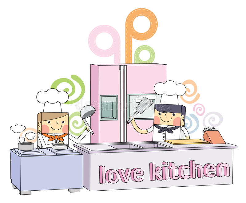 Restaurant Kitchen Illustration restaurant kitchen chef line character illustration stock vector