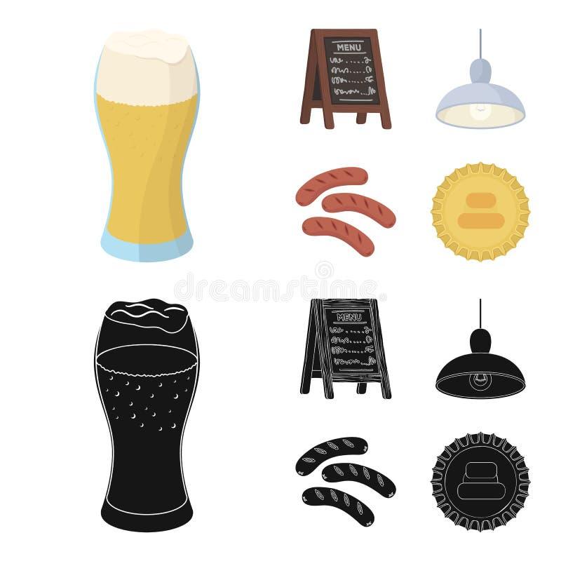 Restaurant, koffie, bier, glas Pictogrammen van de bar de vastgestelde inzameling in beeldverhaal, het zwarte Web van de de voorr stock illustratie