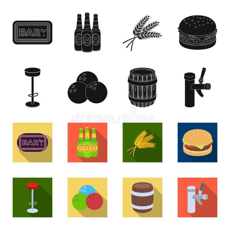Restaurant, koffie, stoel, het werpen bal Pictogrammen van de bar stileren de vastgestelde inzameling in zwarte, flet vector de i stock illustratie