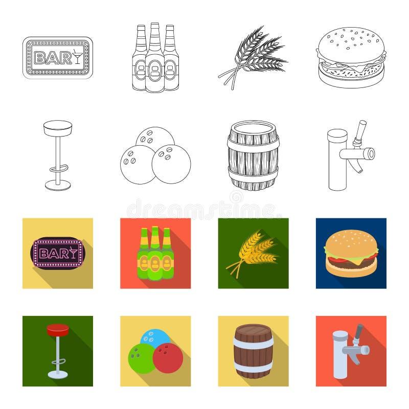 Restaurant, koffie, stoel, het werpen bal Pictogrammen van de bar de vastgestelde inzameling in overzicht, vlakke de voorraadillu stock illustratie