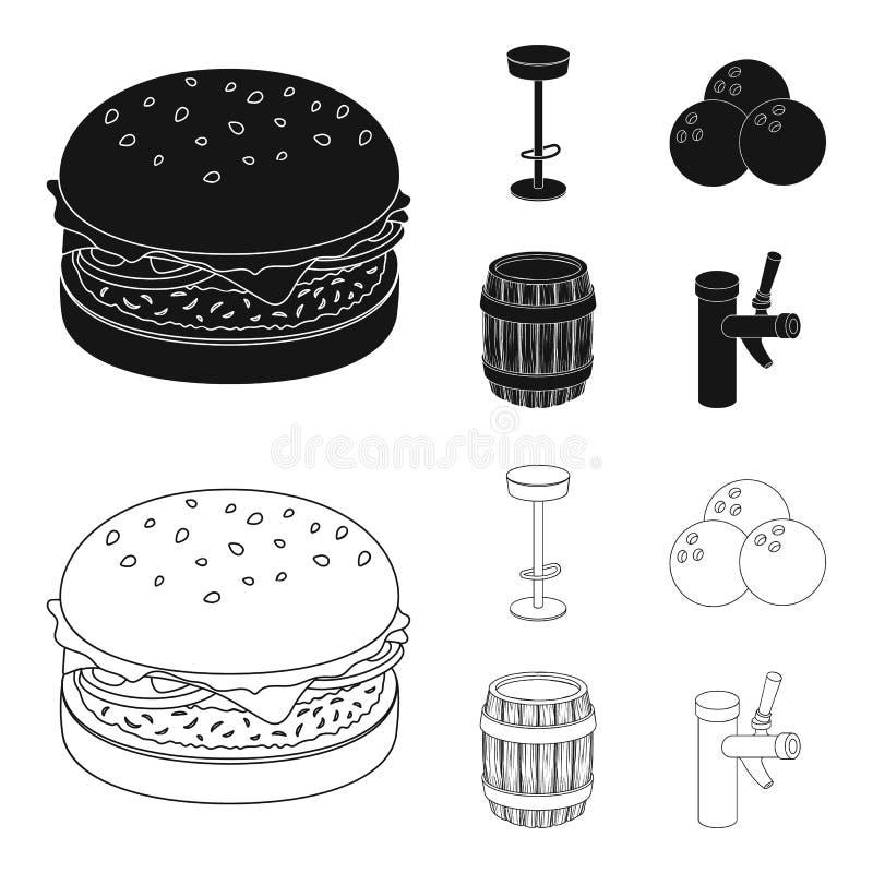 Restaurant, koffie, stoel, het werpen bal Pictogrammen van de bar de vastgestelde inzameling in zwarte, illustratie van de het sy royalty-vrije illustratie