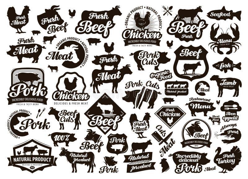 Restaurant, koffie vectorembleem voedsel, vlees of menu, kokend pictogram vector illustratie
