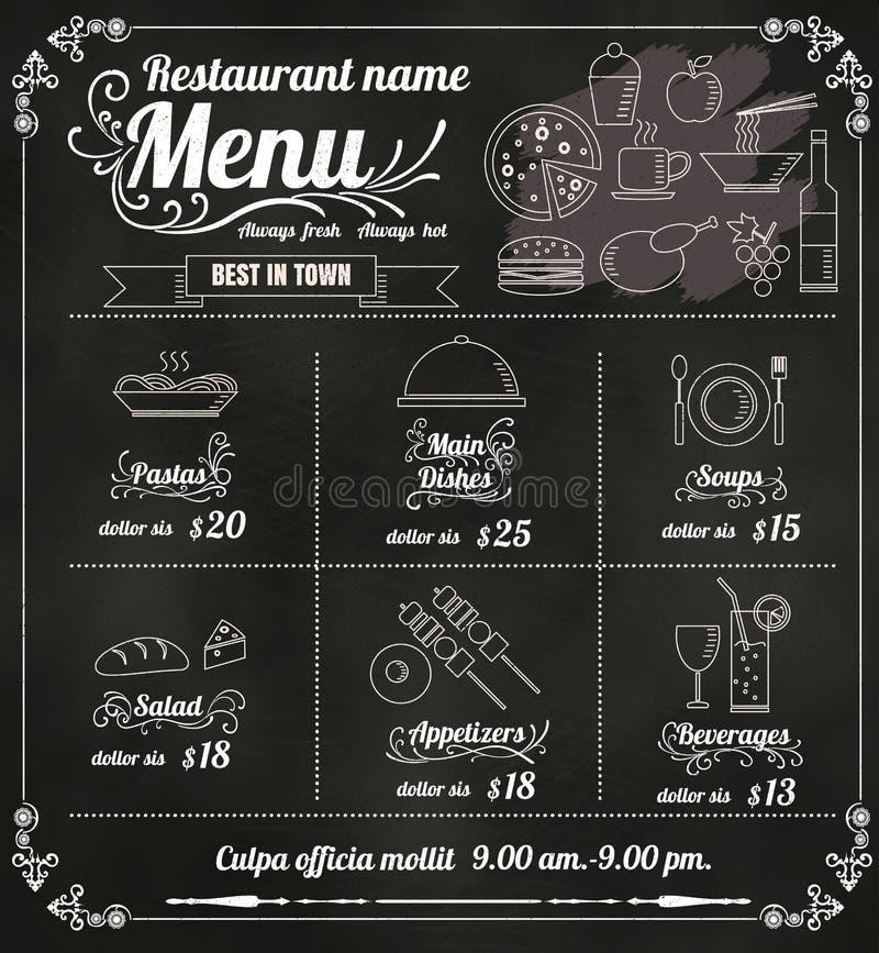 Restaurant-Lebensmittel-Menü-Design mit Tafel-Hintergrundvektor FO lizenzfreie abbildung