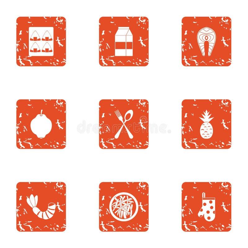 Restaurant level icons set, grunge style. Restaurant level icons set. Grunge set of 9 restaurant level vector icons for web isolated on white background royalty free illustration