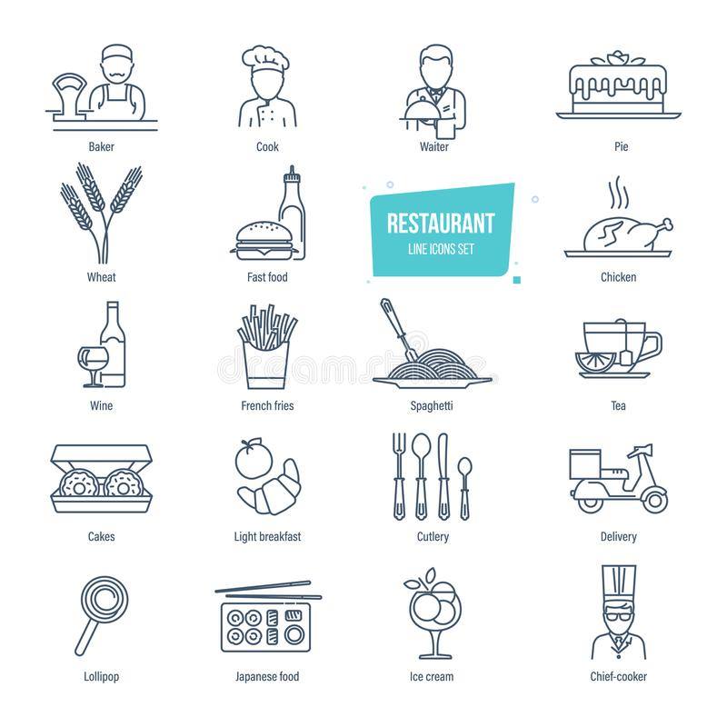 Restaurant line icons set. Employees of restaurant, food, drinks, delivery. stock illustration