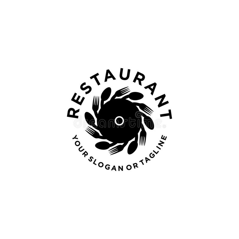 Restaurant logo for the food and drinking industry 库存例证