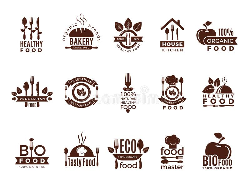 Restaurant logo. Food manufacture vintage labels for kitchen eco fresh healthy cooking house vector badges template vector illustration