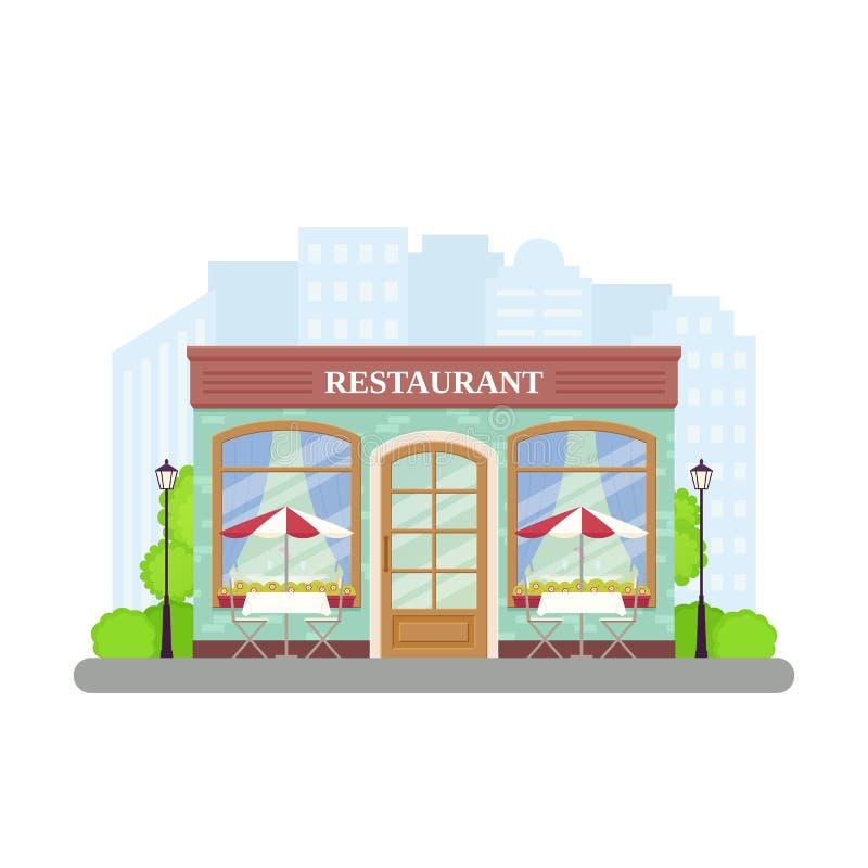 Restaurant Magasin de café de rue Illustration de vecteur dans la conception plate illustration stock