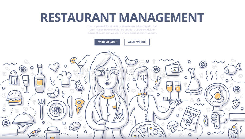 Restaurant Management Doodle Concept vector illustration