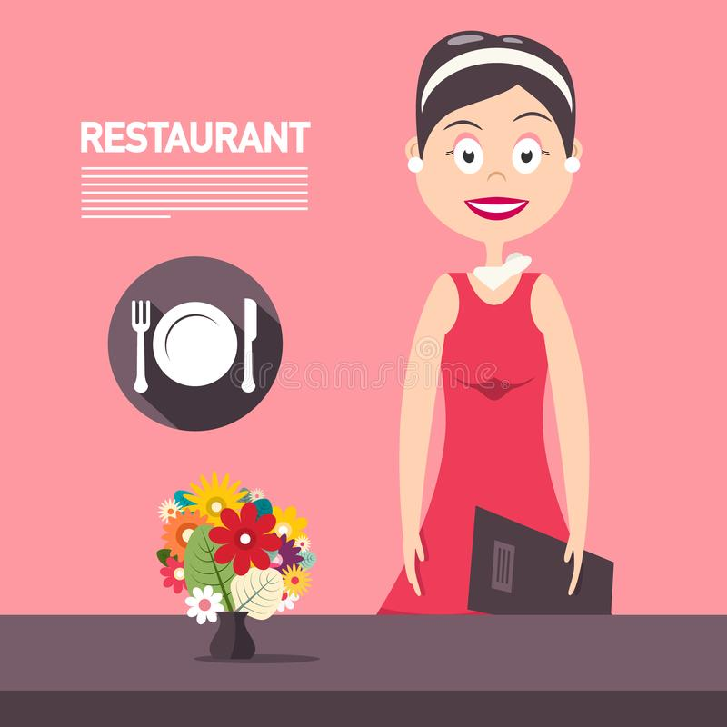 Restaurant Manager woth Flowers on Pink Background Vector Design. Beautiful Woman in Red Dress vector illustration