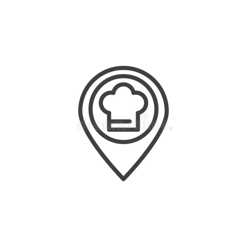 Restaurant map marker line icon. Linear style sign for mobile concept and web design. Chef hat location pin outline vector icon. Symbol, logo illustration vector illustration