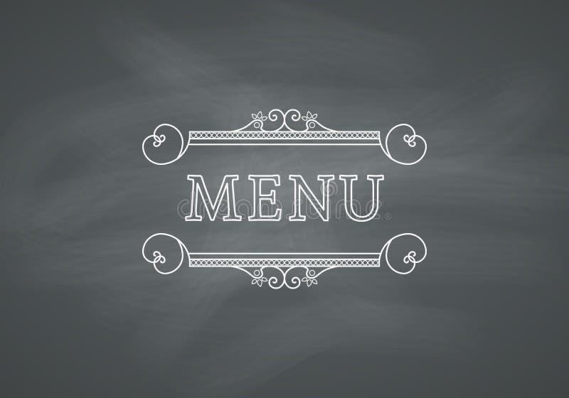 Restaurant-Menü-Schlagzeile mit Tafel stock abbildung