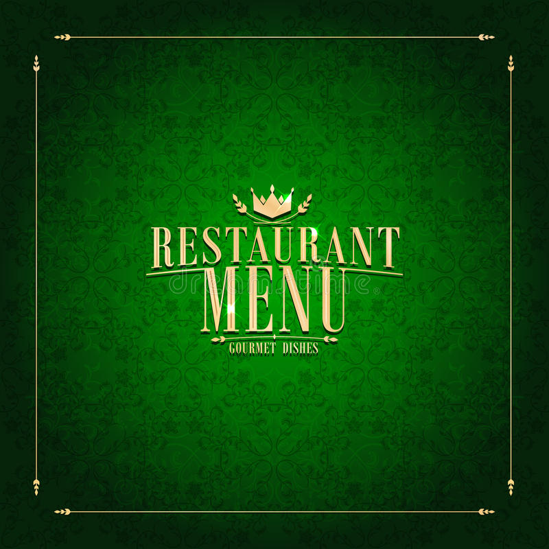Restaurant-Menü, Weinlesekartengrün lizenzfreie abbildung