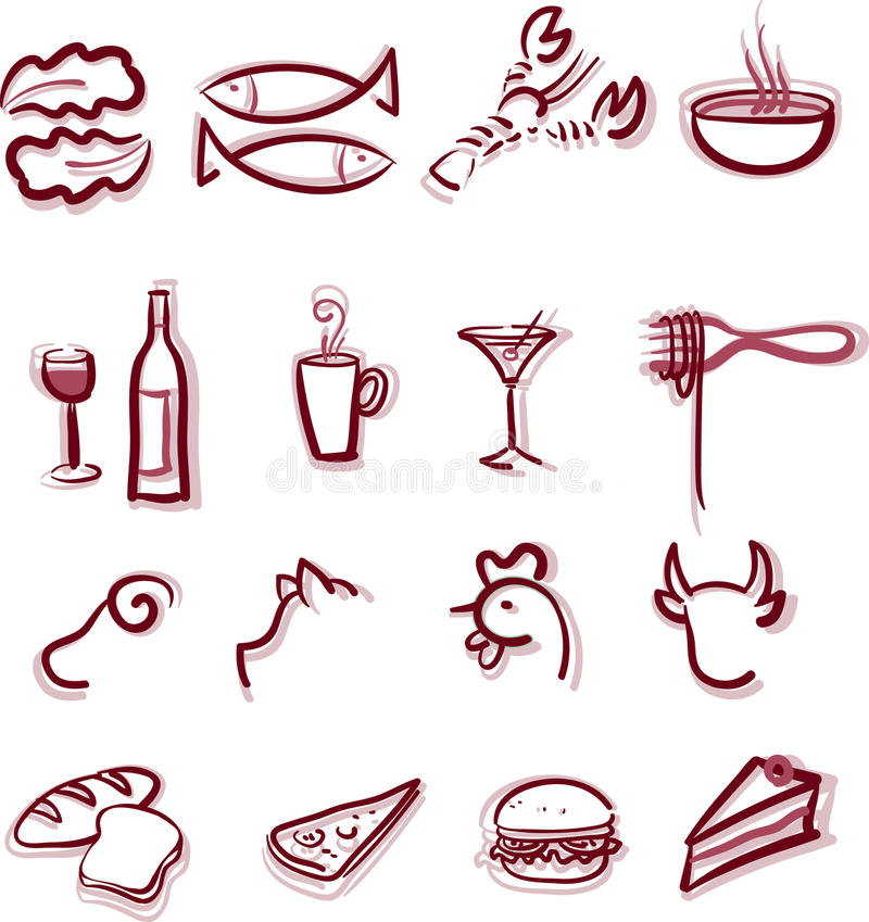Restaurant Menu. 12 icons set of restaurant menu items