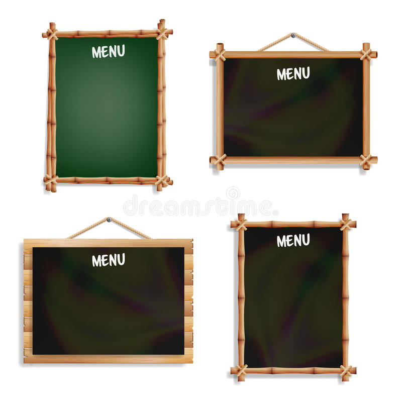 Restaurant Menu Boards Set. Isolated On White Background. Realistic Black And Green Chalkboard Blank With Wooden Frame Hanging. Ve vector illustration