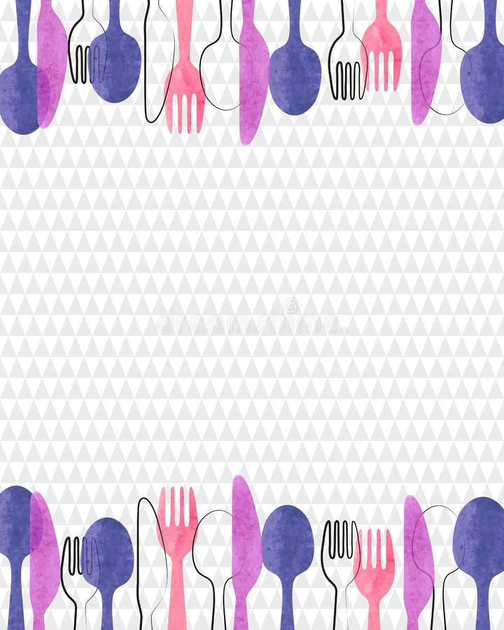 Restaurant Menu Card Design Vector Background Watercolor Cutlery Spoon Fork Knife