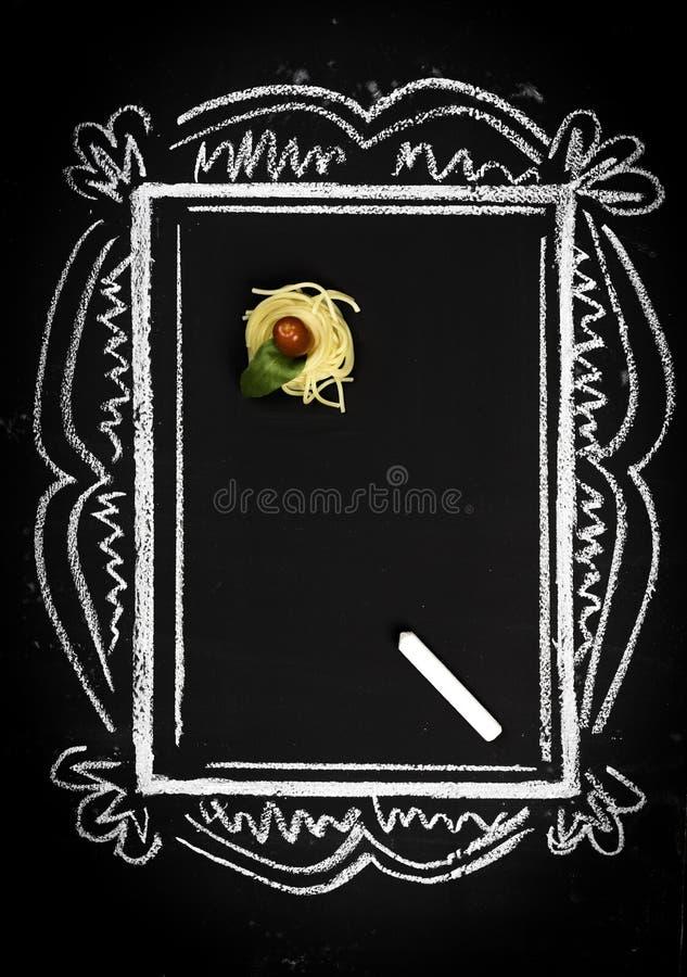 Restaurant menu on chalkboard stock images